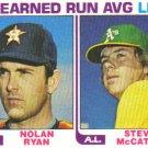 1982 Topps  #167 Nolan Ryan / Steve McCatty  '81 ERA Leaders