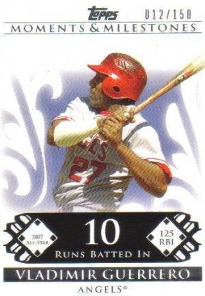 2008 Topps Moments & Milestones  #135 - 10 Vladimir Guerrero   Angels  /150