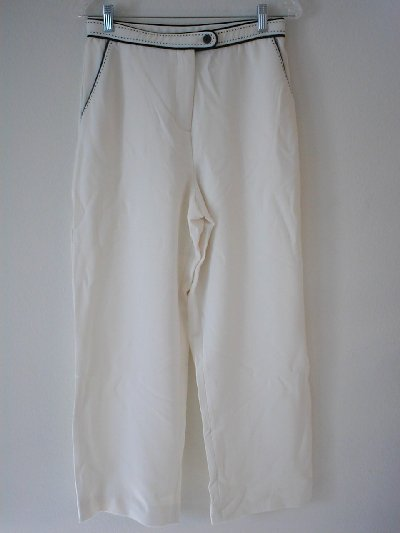 DIALOGUE Matte Twinstretch Petite Pants with Contrast Details Retail $41 Size 12P Ivory NEW