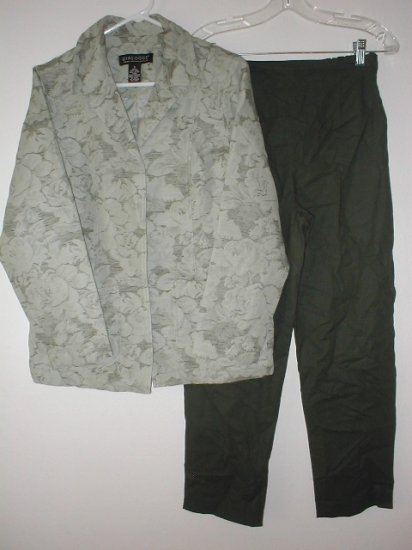 DIALOGUE Linen Cotton Jacquard Jacket & Ankle Pants Set Size 6 SMALL Sage