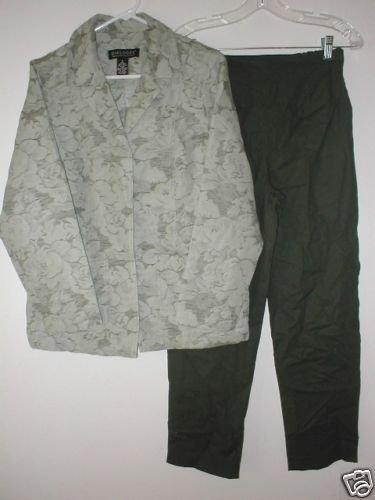 DIALOGUE Jacquard Jacket & Ankle Pants Set SM S 6 Sage