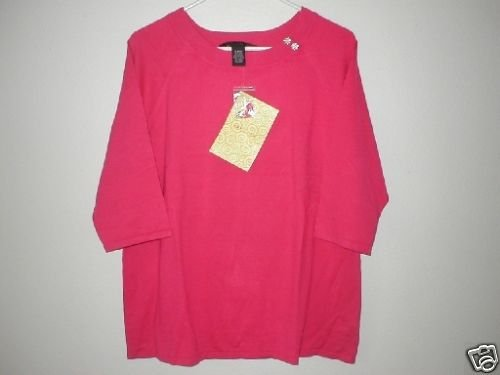 DIALOGUE Stretch Silk Blend 3/4 Sleeve Sweater MED M