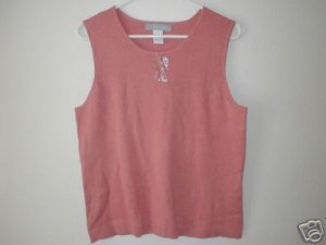 MODERN SOUL Crew Neck Knit Tank Top LRG L Terracotta
