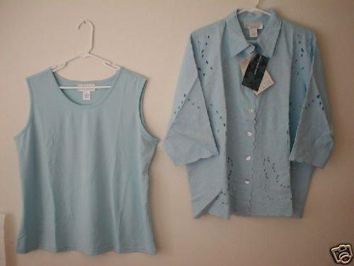SUSAN GRAVER 3/4 Sleeve Lace Shirt & Tank QVC Blue SM S