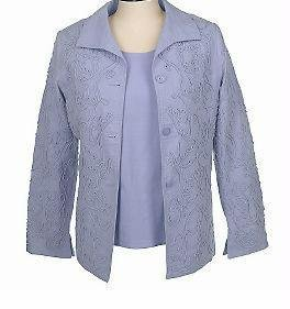 DIALOGUE Soutache Jacket & Tank Top QVC SMALL Lavender S