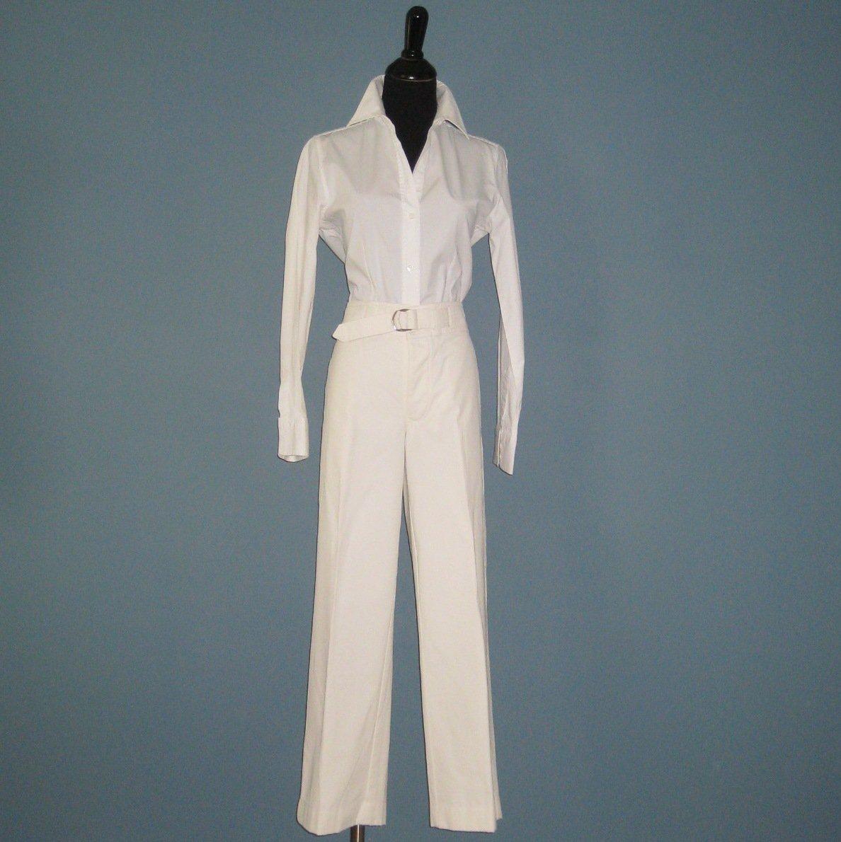 NWT Ralph Lauren Blue Label Cream 100% Cotton Capri Pants - 10