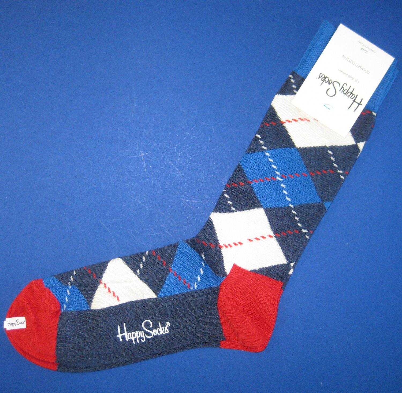 NWT Happy Socks Red White Blue Argyle Cotton Socks