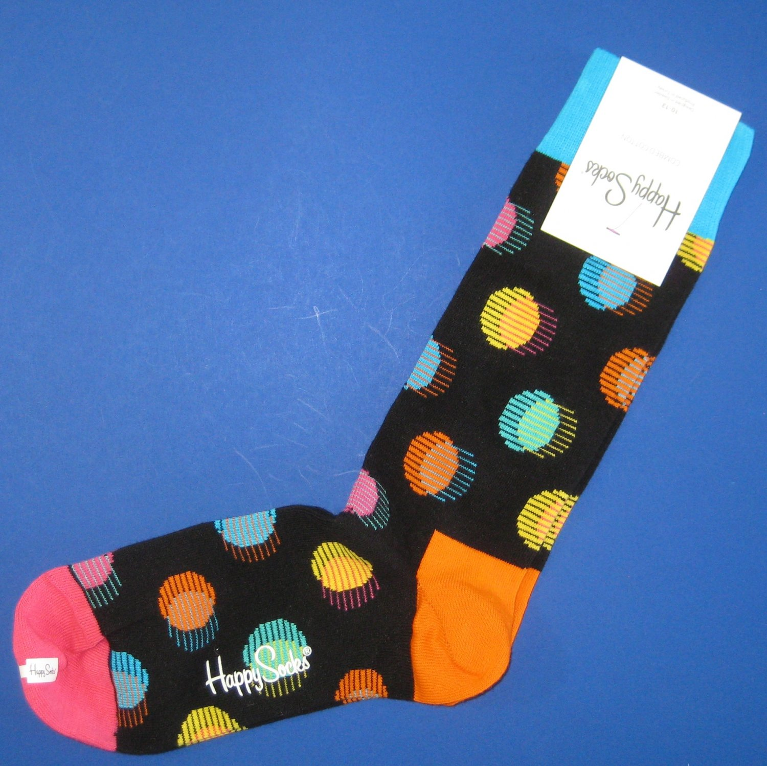 NWT Happy Socks Black Multi-Colored Out of Focus Dot Cotton Socks