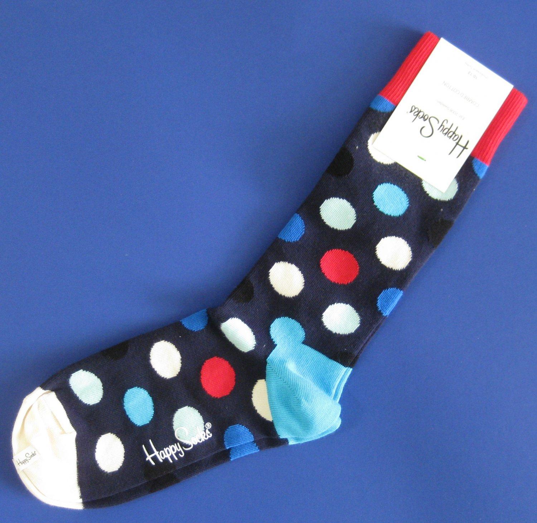 NWT Happy Socks Navy Blue Multi-Colored Dot Cotton Socks