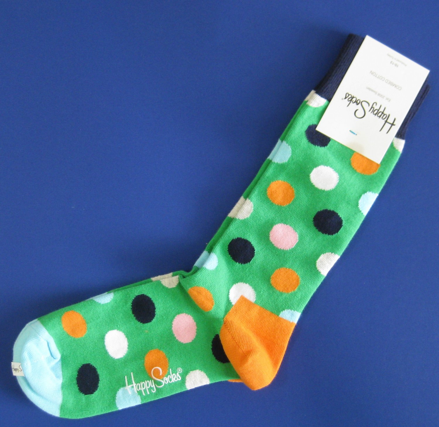 NWT Happy Socks Pastel Green Multi-Colored Dot Cotton Socks