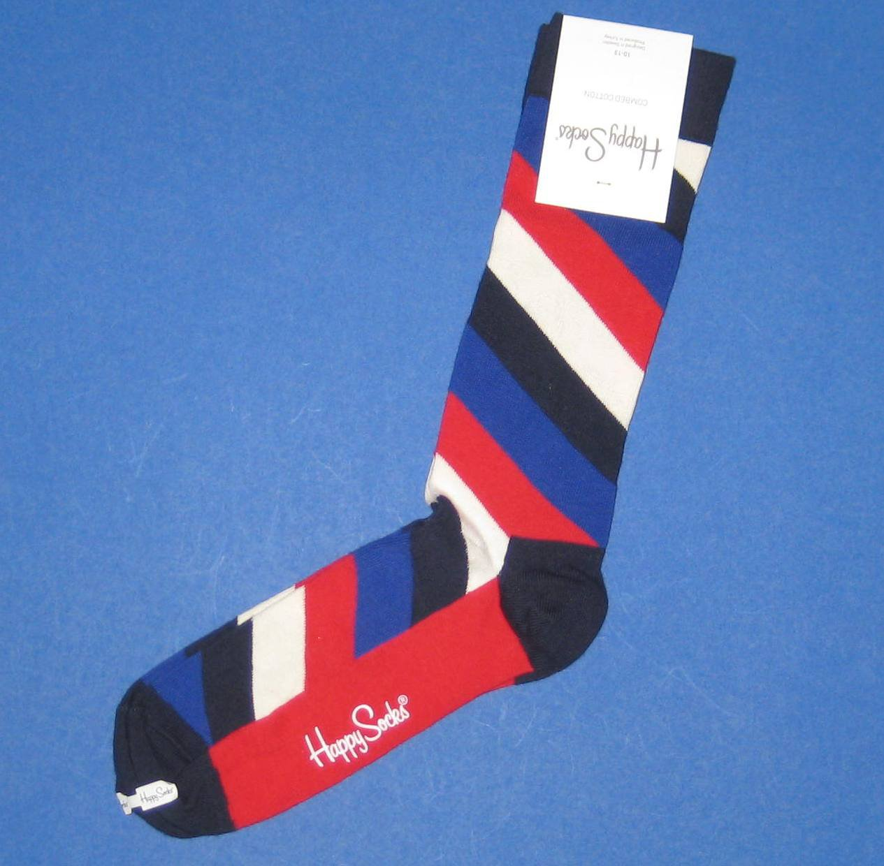 NWT Happy Socks Red/Ivory/Black Diagonal Stripe Combed Cotton Knit Socks