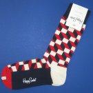 NWT Happy Socks Red White Blue Filled Optic Cotton Socks