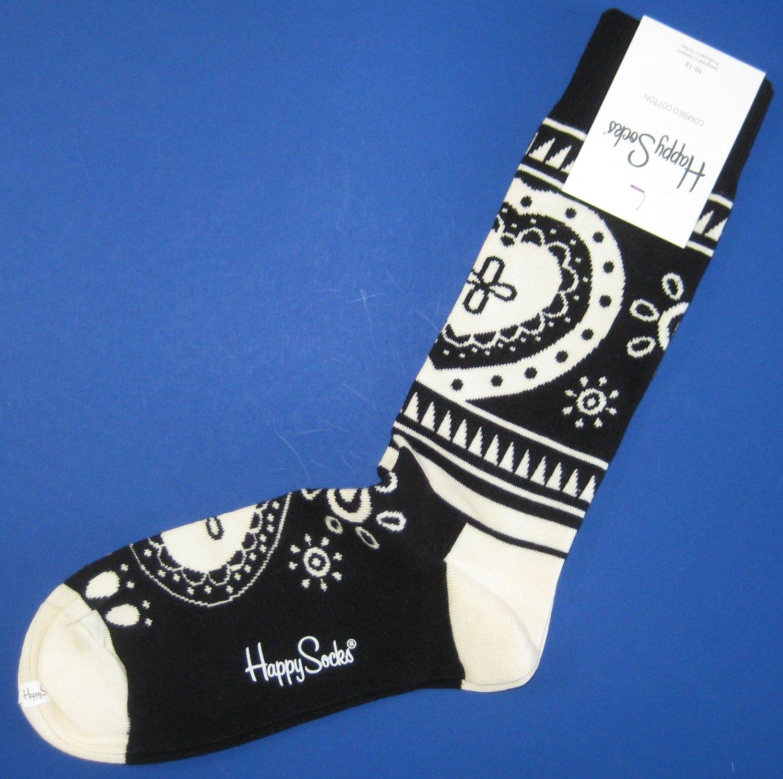 NWT Happy Socks Black Ivory Hippie Cotton Socks