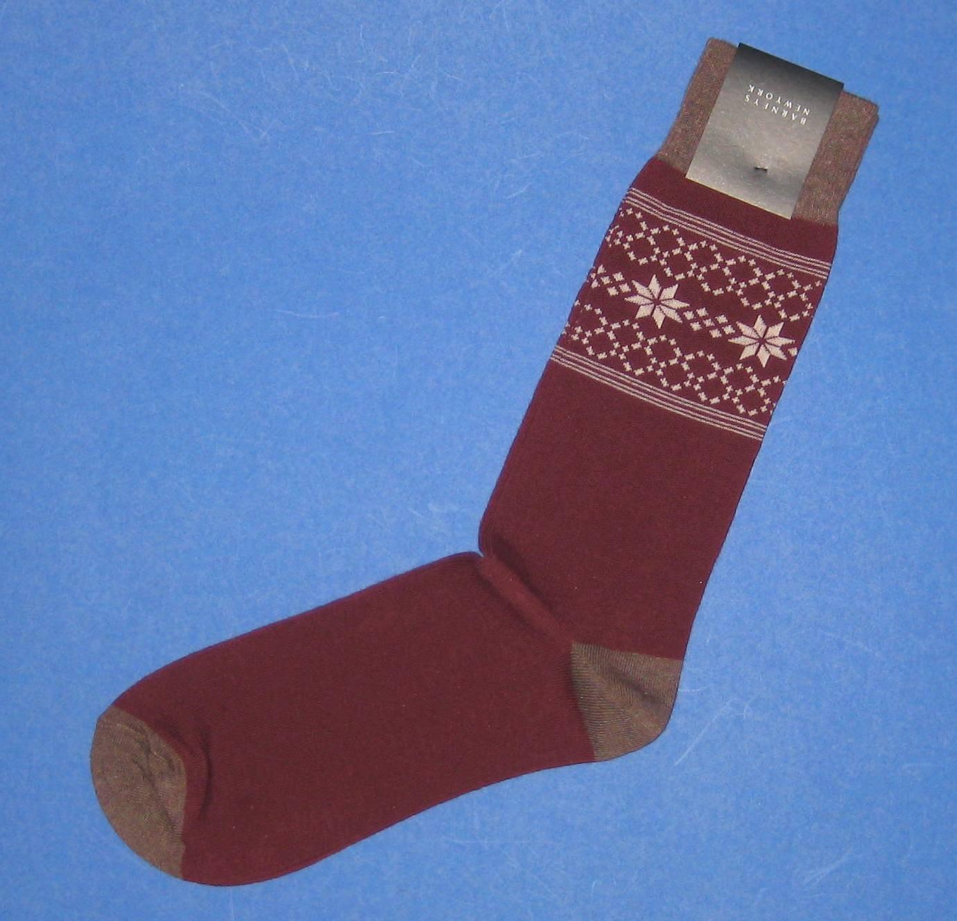 NWT Barneys New York Italian Made Burgundy Cotton Knit Snowflake Stars Dress Socks