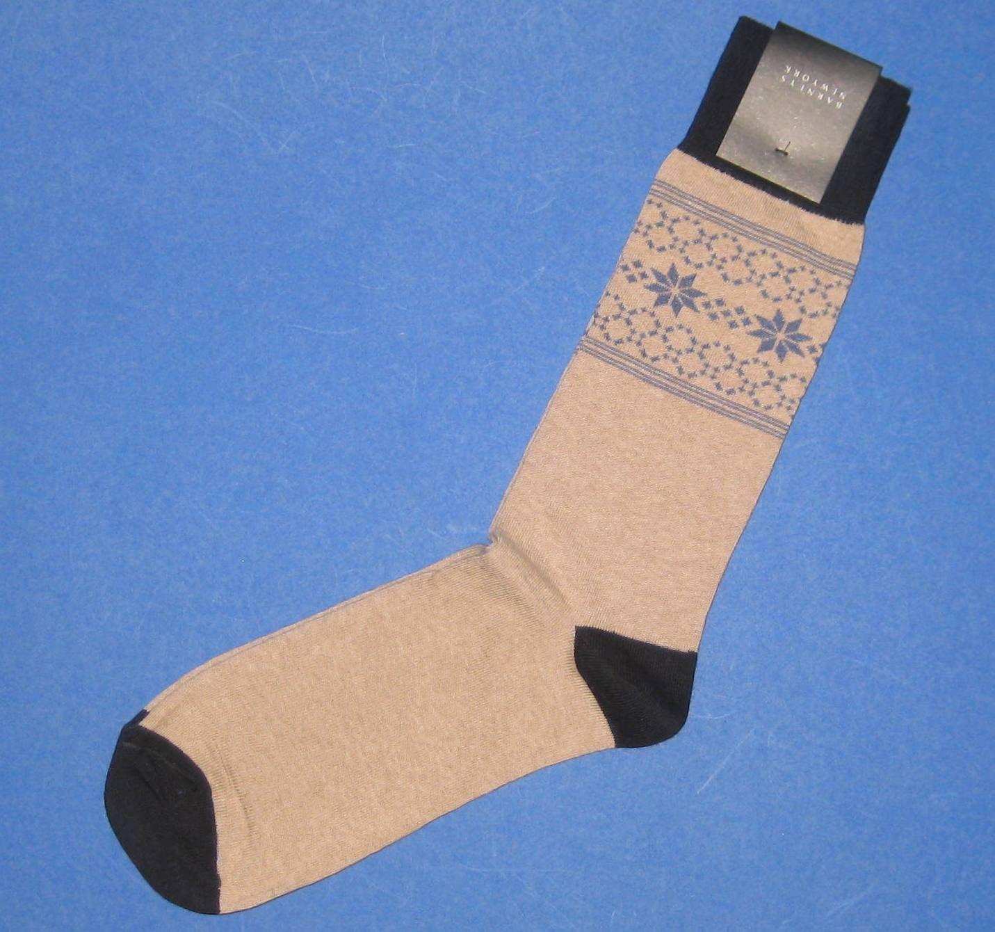 NWT Barneys New York Italian Made Beige Cotton Knit Snowflake Stars Dress Socks