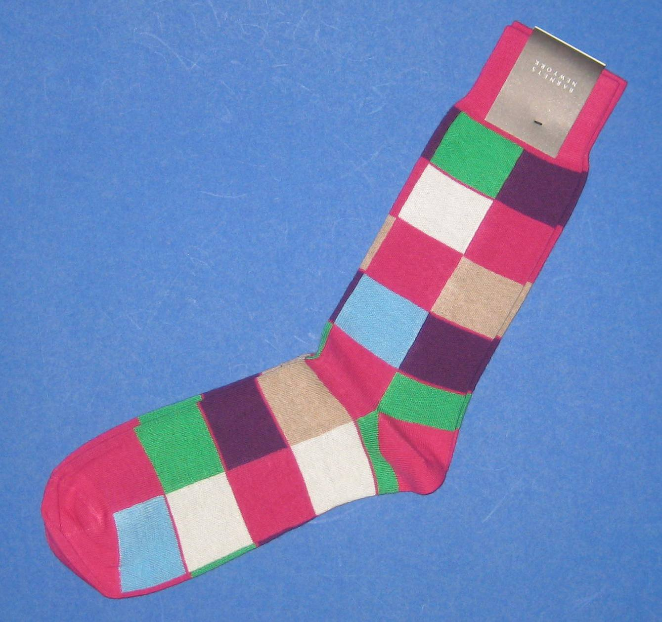 NWT Barneys New York Italian Made Cotton Knit Multi-colored Square Cubes Socks