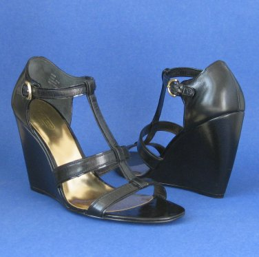 NEW Coach Trixy Black Leather Wedge Sandals #A3369 - 9.5B