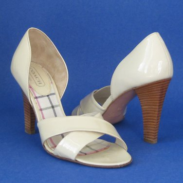 NEW COACH Bardot Cream Patent Leather Sandals Pumps #A3947 - 7.5B