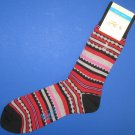 NWT Original Penguin Black & Red Pima Cotton Blend Aztec Stripe Dress Socks
