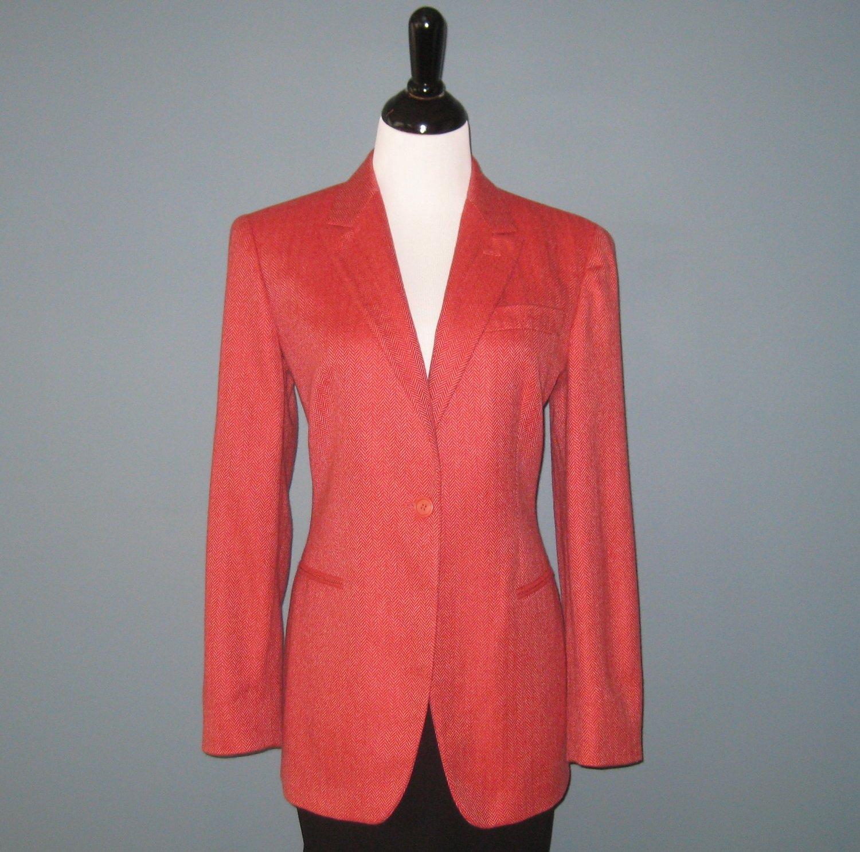Pre-Owned Giorgio Armani 100% Cashmere Pink Herringbone Blazer Jacket - 44