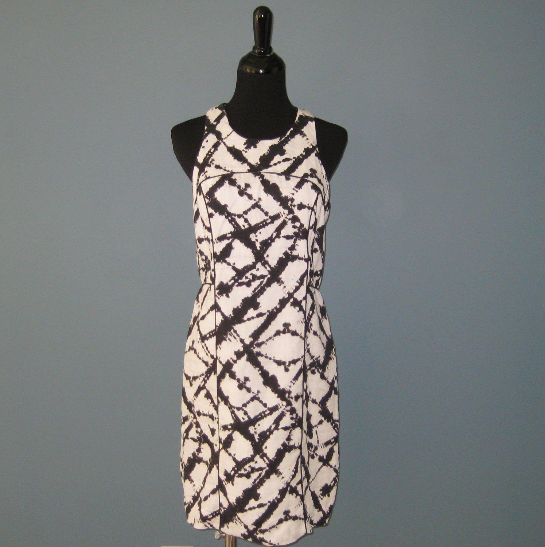 Nwt Cynthia Rowley 100 Linen Black White Abstract Print Tank Dress 6