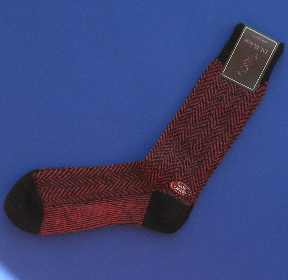 NWT J.M. Dickens Men's Red & Black Chevron Herringbone Merino Wool Knit Dress Socks