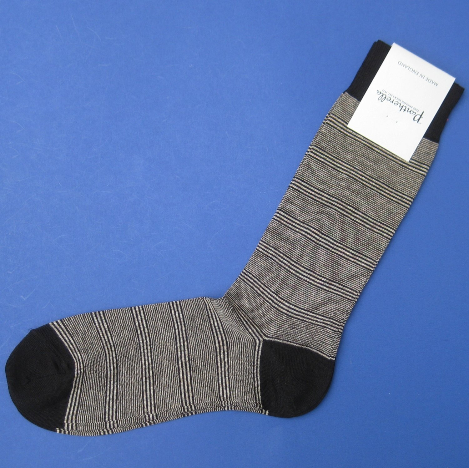 NWT Pantherella Black/Beige Stripe Cotton Blend Knit Dress Socks - M