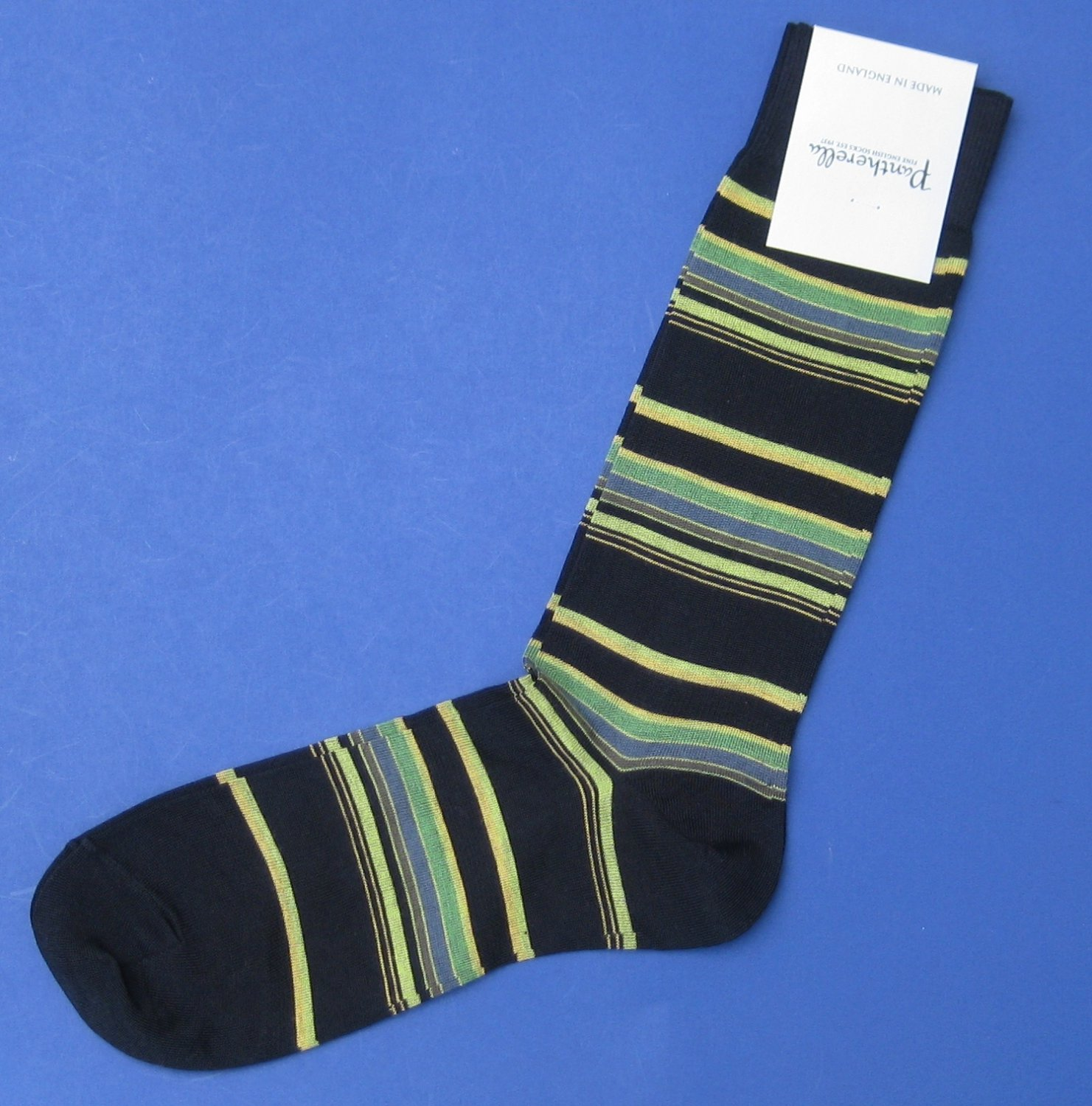 NWT Pantherella Green/Black Stripe Cotton Blend Knit Dress Socks - M