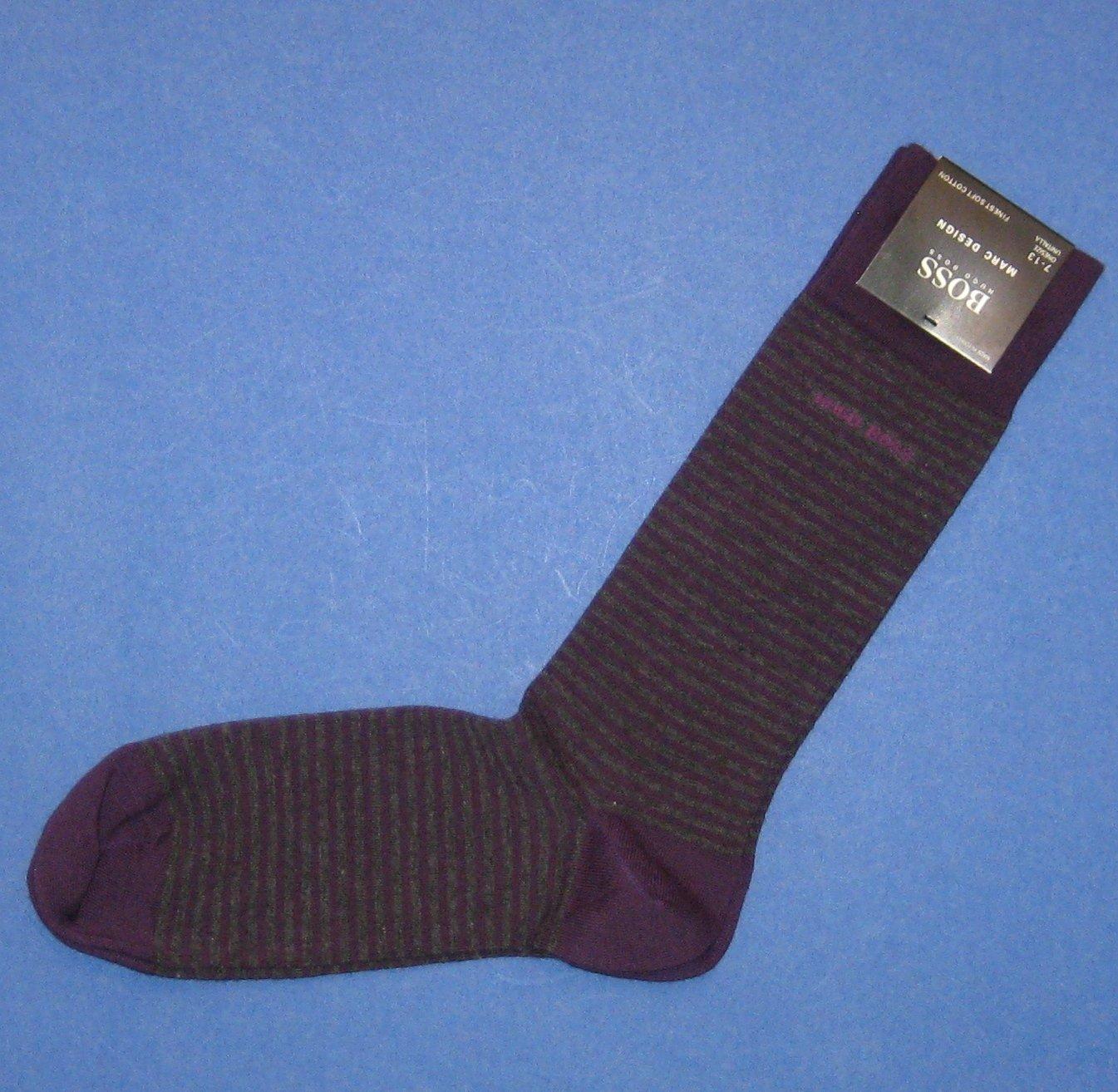 "NWT Hugo Boss Purple Gray Stripe ""Marc Design"" Cotton Stretch Socks"