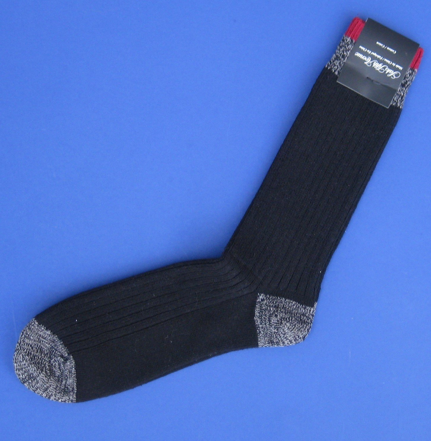 NWT Saks Fifth Avenue Men's Heavyweight Black Cotton Blend Socks