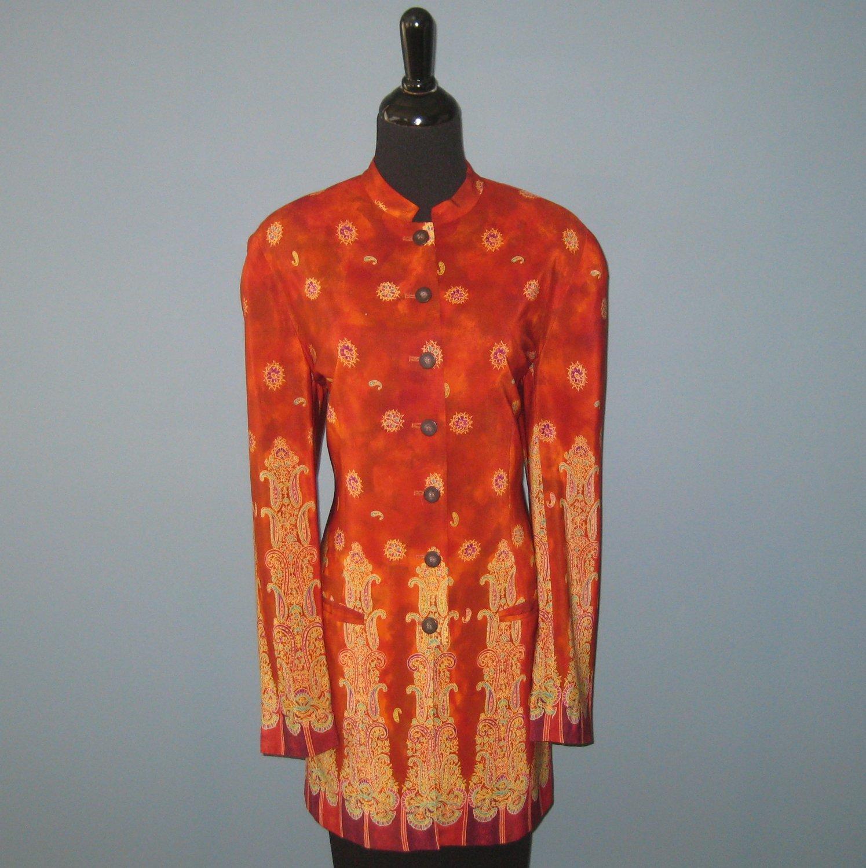 Pre-Owned Vintage August Silk Red/Orange Asian Print 100% Silk Nehru Jacket - 10