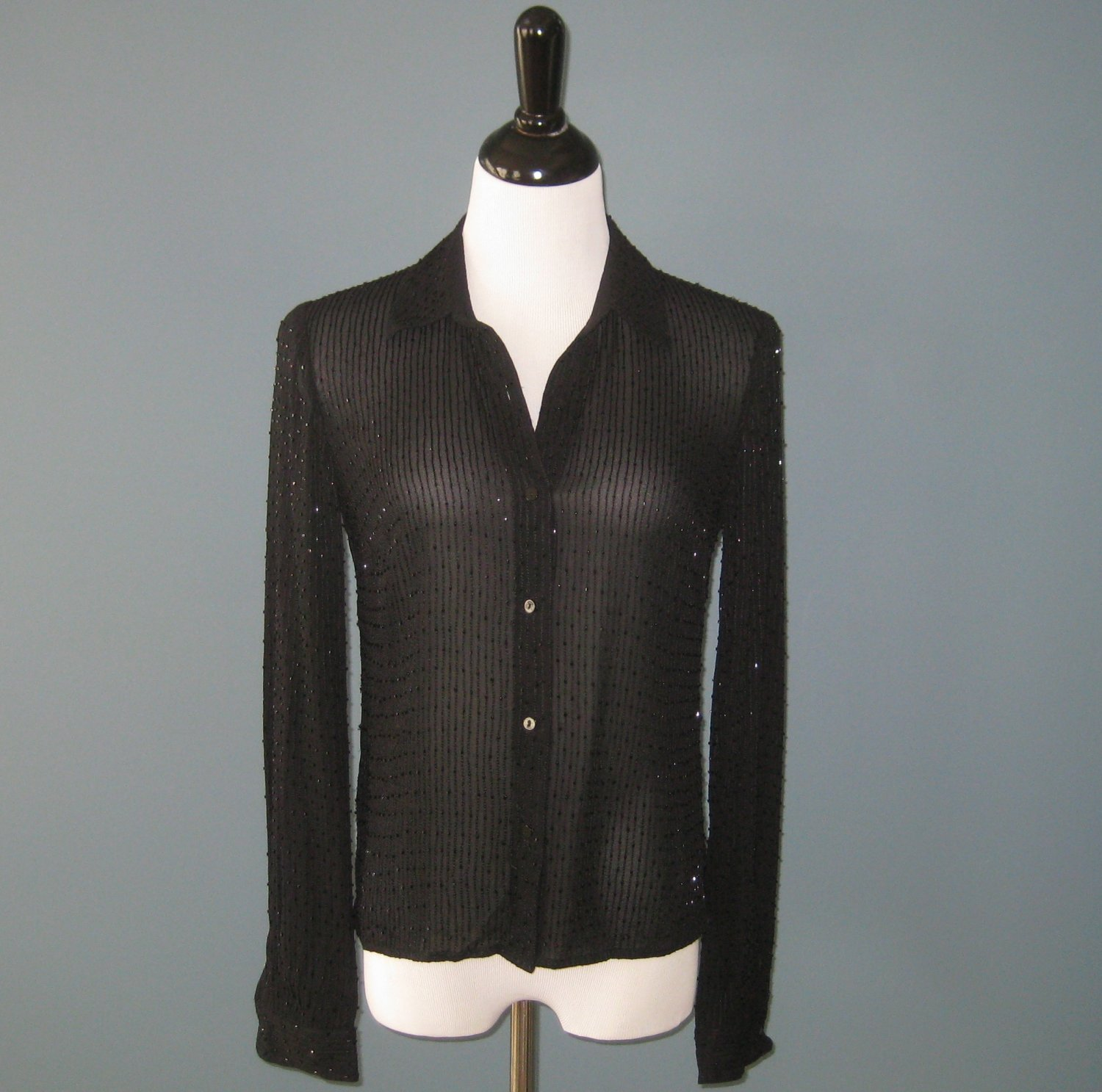 Pre-Owned Anne Taylor 100% Silk Black Sequin Beaded L/S Blouse - 4