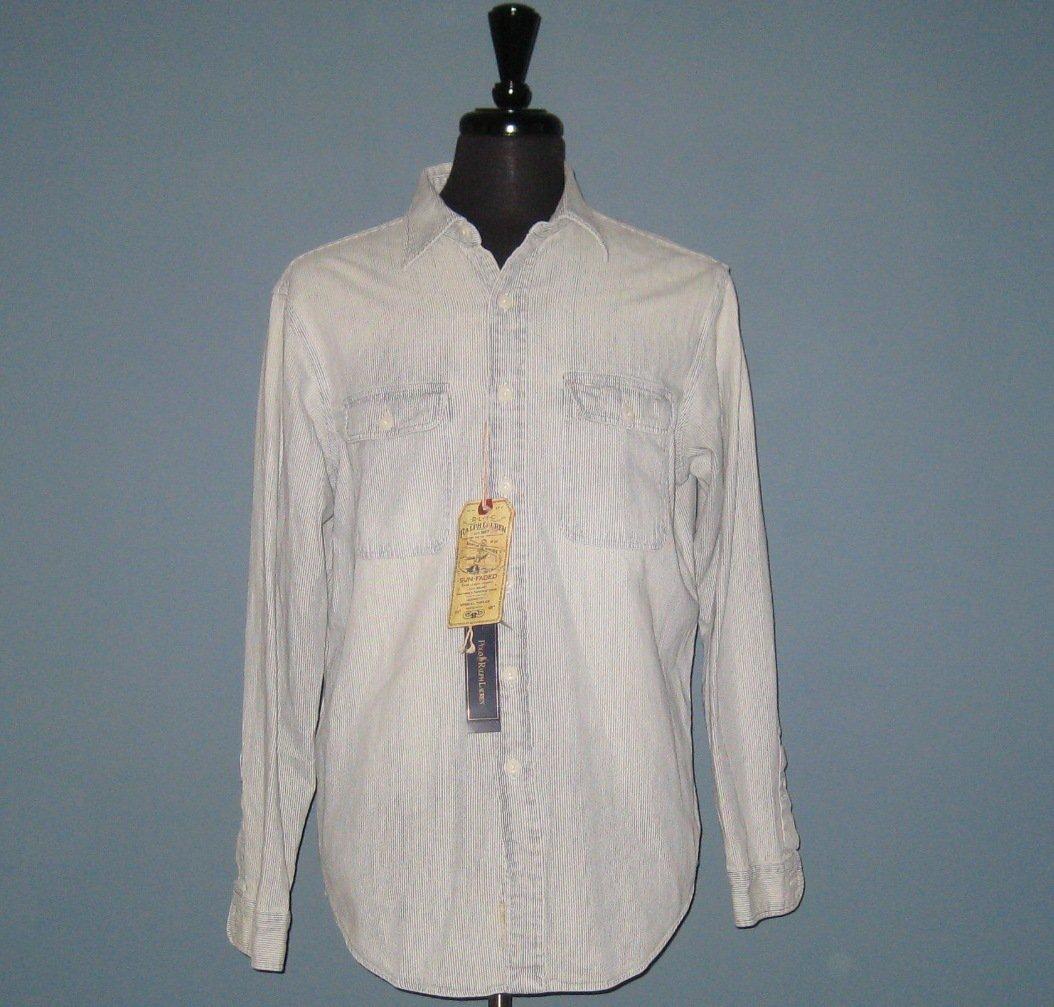 NWT Polo Ralph Lauren Sun-Faded Pinstripe Cotton L/S Oxford Shirt - L