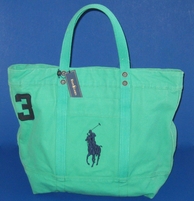 NWT Polo Ralph Lauren Green Big Pony Zip Cotton Canvas Tote Bag - Unisex