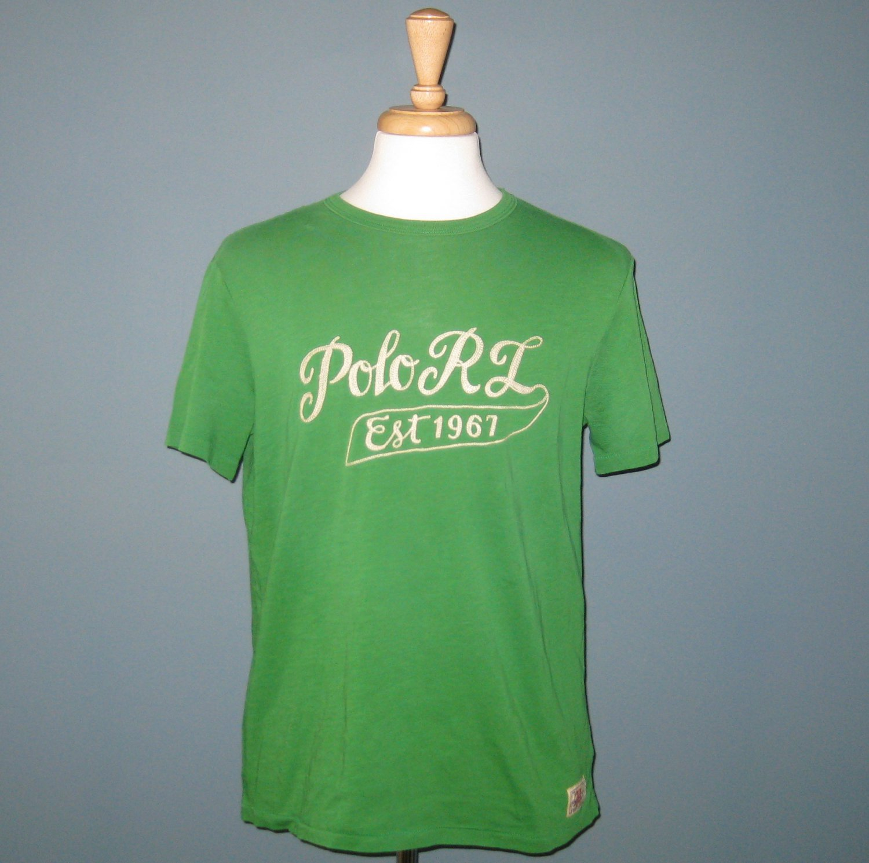 NWT Polo Ralph Lauren Green 'Polo RL Est 1967' Embroidered S/S 100% Cotton T-Shirt - XL