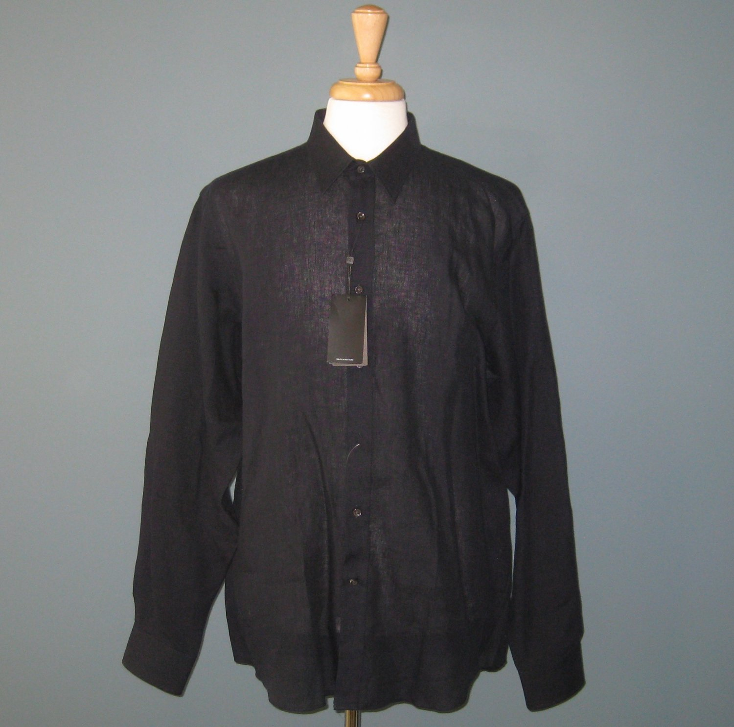 NWT Ralph Lauren Black Label Men's L/S Blue Black Phillip Linen Shirt - 17