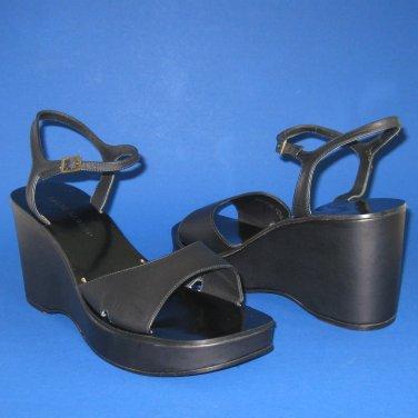 NIB Ralph Lauren Black Leather Dreama Open Toe Platform Wedge Sandals - 10.5B