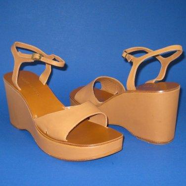 NIB Ralph Lauren Tan Leather Dreama Open Toe Platform Wedge Sandals - 10.5B