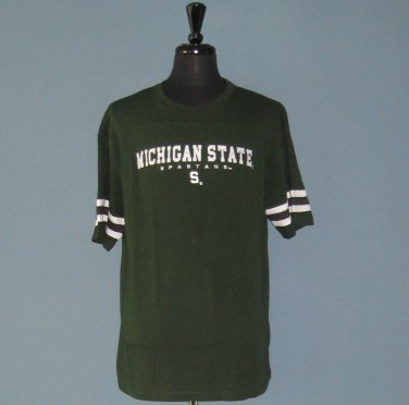 NWT Michigan State University Spartans Collegiate Green Box Lettered Embroidered T-Shirt - M