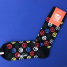 NWT Happy Socks Black w/Allover Royal Enfield Logo Cotton Socks