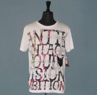 NWT Antik Denim Vintage Soul Vision Ambition White Cotton & Modal T-Shirt - M