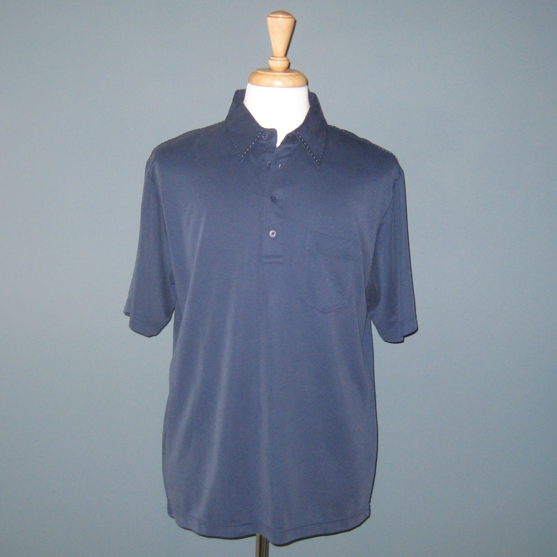 NWT Bugatchi Uomo Navy Blue S/S Modal Blend Polo Shirt - M