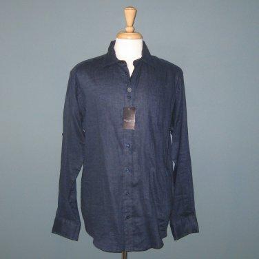 NWT Linea Rosso 100% Linen L/S Men's Navy Blue Shirt - L