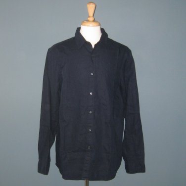 NWT Michael Kors L/S 100% Linen Midnight Navy Button Front L/S Shirt - L