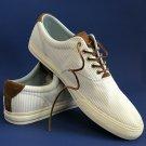 NEW Polo Ralph Lauren Men's White & Blue Seersucker Cotton Canvas Vaughn Lace-up Sneakers - 17D