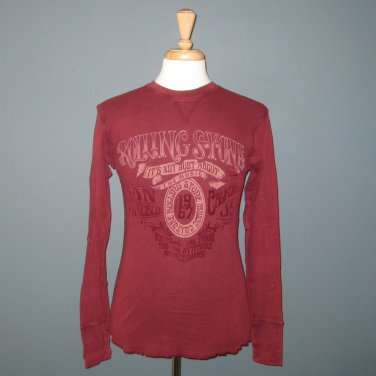 NWT Rolling Stone Collection Burgundy 100% Cotton L/S Thermal T-shirt - S