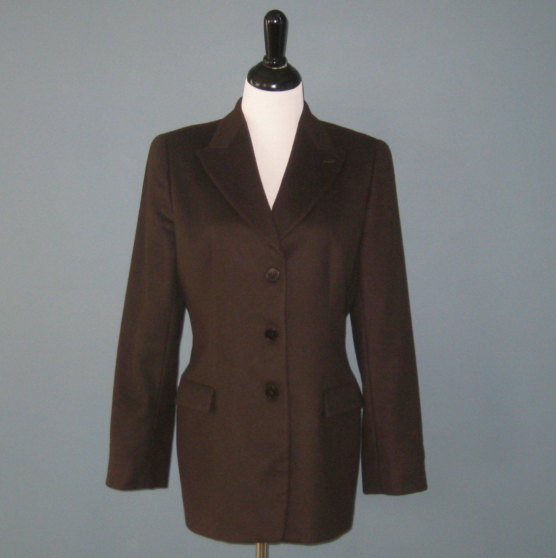 Pre-Owned Giorgio Armani 100% Cashmere Chocolate Brown Blazer Jacket - 12