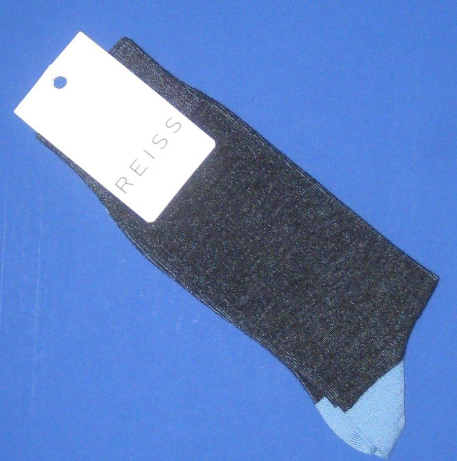 NWT Reiss Sacra Two Tone Blue Cotton Blend Dress Socks - One Size