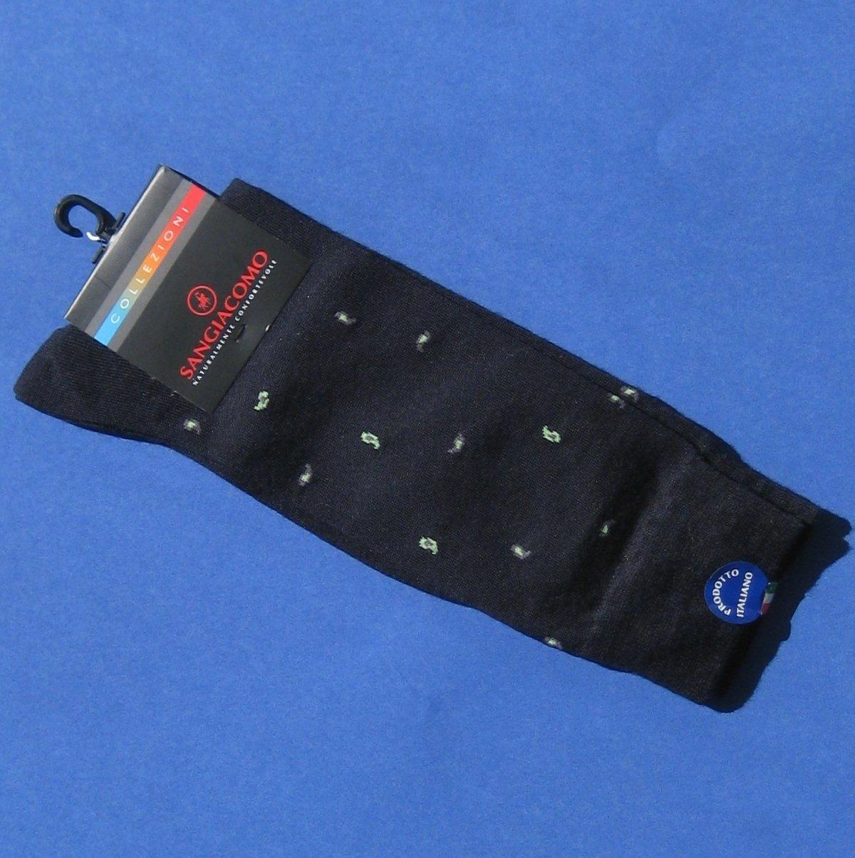 NWT Sangiacomo Blue Cotton Blend Knit Dress Socks