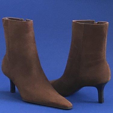 NIB Lauren Ralph Lauren Morrigan Snuff Brown Suede Ankle Boots - 9.5B